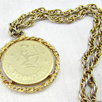 Vintage Mens Astrology Necklace, SAGITTARIUS Zodiac Necklace, Gold Coin Necklace, Archer Pendant Necklace, 1970s Astrology Zodiac Jewelry