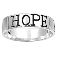 Sterling Silver FAITH LOVE HOPE Ring Band Ring - Size 13