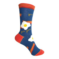 Bacon Crew Socks in Blue