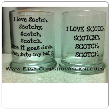 Anchor Man- I love Scotch- Scotch-Rocks Glass -Hand painted Anchorman Gifts Will Ferrell Anchorman 2