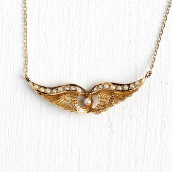 Antique Wing Necklace - Victorian 10k Rosy Yellow Gold Brooch Conversion Pendant - Vintage 1890s Seed Pearl Angel Protection Fine Jewelry