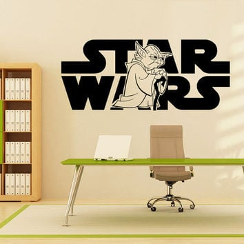 Wall Decals Vinyl Sticker Decal Art Home Decor Mural Star Wars Logo Yoda Children Nursery Room Bedroom Office Window AN238