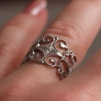 Vintage Filigree Silver Tone Ring by Sarah by TwiceBakedVintage