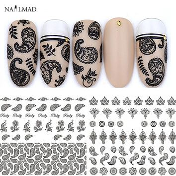 1 sheet Colorful Paisley Nail Water Decals Bandanna Transfer Stickers Mandala Eyes Nail Art Sticker Tattoo Decals