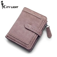 CITY LIGHT Women wallet fashion Two folding multi-function hasp simple wallet ladies wallet purse