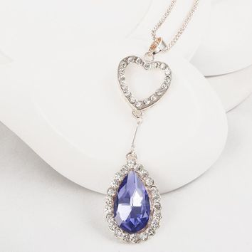 Korean Heart Crystal Pendant Chain Cats Hot Sale Accessory Sweater [6049340161]