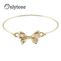 New  China Lovely Gold Silver Color Alloy Concise Cuff Bowknot Bracelets and Bangles