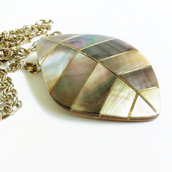 Alablone Necklace, Brass and Abalone Inlay Large Pendant, Wood Back, Signed, Vintage Shell Jewelry, Long Chain, Tribal, Fashion Statement