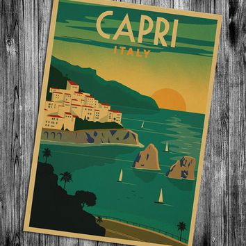 USA CITY Vintage poster Hawaii NaPali design krafts paper retro posters wall stickers wall painting wallpaper cafe bar pub decor