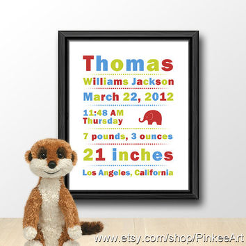 Baby stats, custom birth state, baby details, birth announcement, birth details, birth stats print, new baby wall decor, baby sign