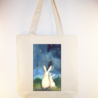 Stargazing ARTIST NAKISHA on 15x15 Canvas Tote with by Whimsybags