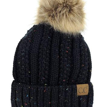 Thick Cable Knit Acrylic Skull Cap Cuff Beanie Faux Fuzzy Fur Pom Fleece Lined