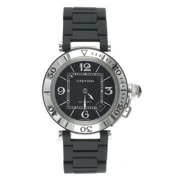 Cartier Men's W31077U2 Pasha Seatimer Automatic Stainless Steel and Rubber Watch