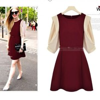 Exquisite Preppy Round Neck Half Sleeve Two Tone Contract Dress 2 Colors