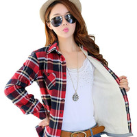 2015 hot winter tops female plus velvet warm plaid flannel shirt female new large size women thick long-sleeved blouses 22colors