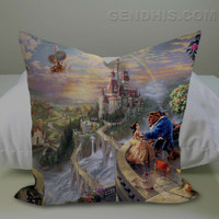 Beauty and the Beast all character Pillow Case, Pillow Cover, Custom Pillow Case
