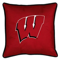 Wisconsin Badgers Decorative Pillow (Red)