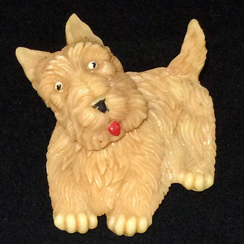 Early Plastic Celluloid Dog Brooch Pin Tan Terrier Rotating Head Signed Japan Figural Jewelry Vintage Art Deco Mid Century Era 518