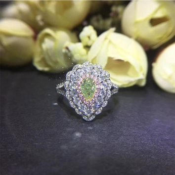 ANI 18K White Gold (AU750) Women Wedding Ring Certified Classic 0.42 CT Pea Cut Real Natural Green Diamond Fine Jewelry Custom