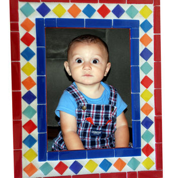 Colorful Mosaic Picture Frame // Nursery Frame // New Baby Gift