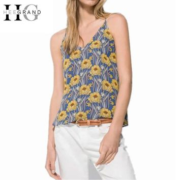Girl V-neck Tank Floral Print Chiffon Sleeveless Women Camis Cropped Spaghetti Strap Women Blue Top Summer