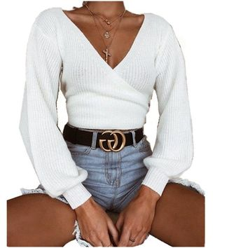 Lossky New Women's Loose Sweater 2018 Casual Autumn And Winter Fashion White Lace Long Sleeve V-Neck Sweaters Women Clothing