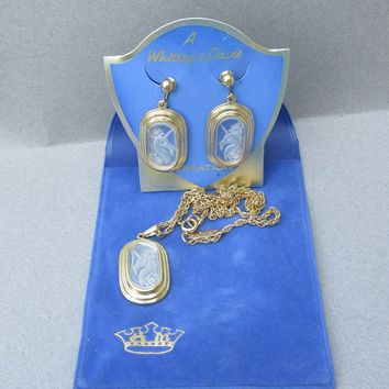 Vintage Whiting & Davis Old Store Stock UNICORN Intaglio Cameo Earrings Necklace Set MINT On Card