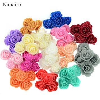 100pcs/lot Mini PE Foam Rose Flower Head Artificial Rose Flowers Handmade DIY We