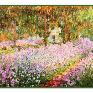 Irises in the Garden inspired by Claude Monet's impressionist painting Counted Cross Stitch or Counted Needlepoint Pattern