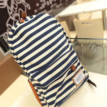 Dark Blue Striped Backpack