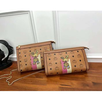 MCM Fashion Women Shopping Bag Leather Metal Chain Rabbit Pattern Tote Handbag Shoulder Bag I-AGG-CZDL