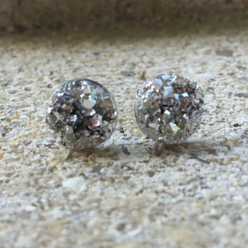 SALE Earrings  Silver  Druzy Stud Earrings Boho Jewelry 10MM
