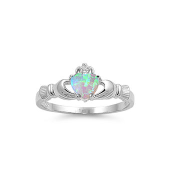 925 Sterling Silver CZ Claddagh Benediction Lab Light Blue Opal Ring 9MM