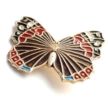 Vintage Brooch Butterfly. Rare Soviet Metal Brooch Painted With Enamel. Colorful Pinback 70s. Vintage Pin Badge.