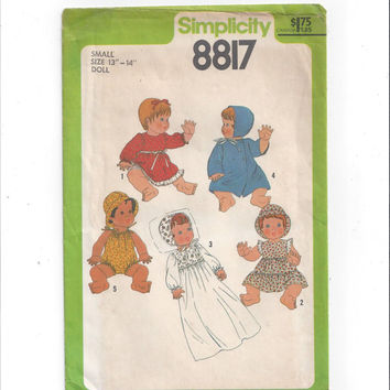 Simplicity 8817 Pattern for Doll Wardrobe for Small 13-14 In. Doll, Dresses, Coat, Romper, From 1978, FACTORY FOLDED, UNCUT, Vintage Pattern