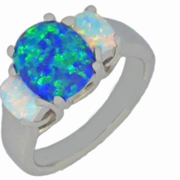 Blue Opal & White Opal Oval Ring .925 Sterling Silver Rhodium Finish