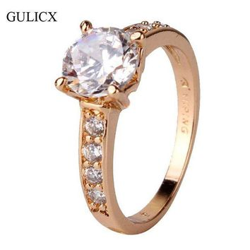 CREYIJ6 GULICX 2017 Vintage Mount Midi Ring for Women Gold-color Ring Round Big Crystal Zirconia Cubic Band Engagement Ring R125