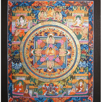 Buddha Mandala Thangka Art Original Painting Cotton Canvas Buddhist Wall Hanging Meditation Yoga Deco