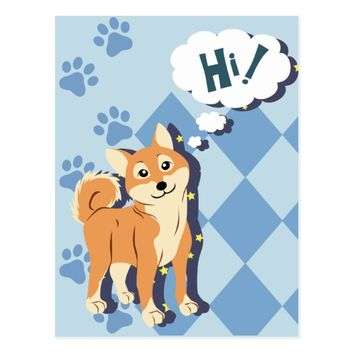 Thoughtful Shiba Inu Postcard
