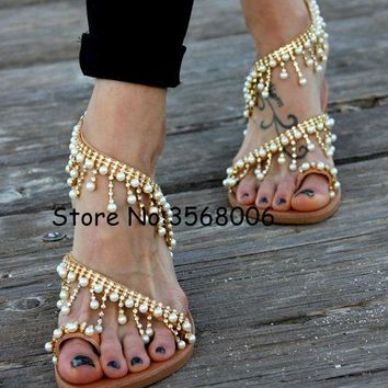 luxury style rhinestone pearl slip-on women sandals beading fringed lady flats shoes clip-toe flip-flops rome shoes