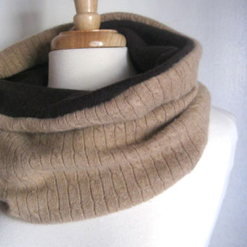 Camel and Brown Infinity Scarf in Pure Cashmere : Upcycled Recycled Repurposed Eco Friendly