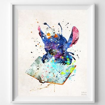 Stitch With Duck Print, Lilo and Stitch, Watercolor Art, Disney Poster, Illustration, Home Decor, Room Art, Kids Wall Art, Back To School