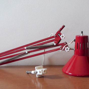 Vintage Luxo Style Drafting Lamp -- Red