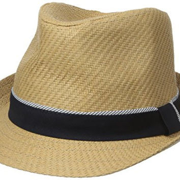 Sperry Top-Sider Men's Straw Fedora, Navy, Small/Medium