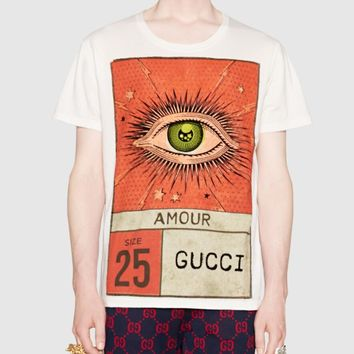 Gucci Trending Women Men Casual Eyes Letters Print Round Collar T-shirt Top I