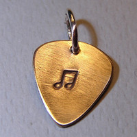 Bronze guitar pick charm handmade with a musical touch