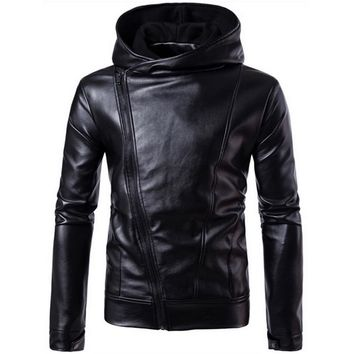 Winter PU Leather Jacket with Hooded Moto Men Stand Collar Slim Jackets Mens Ourwear Coats Chaqueta Moto Cuero Plus Size  4XL
