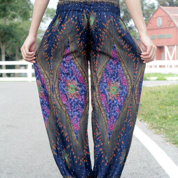 Aladdin Pants/Yoga pants/Harem pants/Meditation pant/elephant thai pants/boho pants/gypsy pants one size fitts all - Dark - Blue mix color