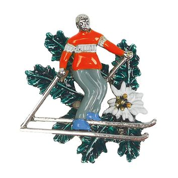 German Alps Alpine Skier Metal Hat Pin with Edelweiss