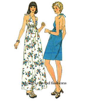 1970s HALTER DRESS Pattern Size 6 PETITE Simplicity 6328 Boho Fit & Flare Bare Back Maxi dress UNCuT Petite Womens Sewing Patterns Bust 31.5